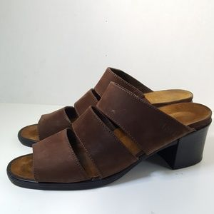 NAOT Brown Suede Leather Block Heeled Sandal